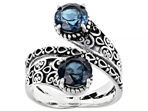 Pre-Owned London blue topaz sterling silver bypass ring  2.70ctw