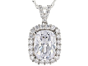 Pre-Owned White Cubic Zirconia Rhodium Over Sterling Silver Pendant With Chain 13.21ctw