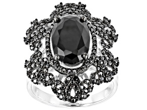 Pre-Owned  Black Spinel Rhodium Over Sterling Silver Ring 4.55ctw
