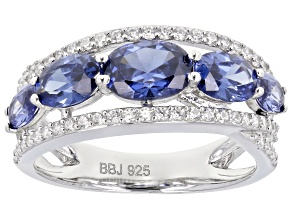 Pre-Owned Blue And White Cubic Zirconia Rhodium Over Sterling Silver Ring 4.80ctw