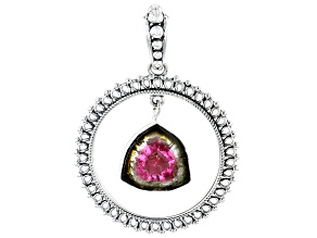 Pre-Owned Watermelon Tourmaline Sterling Silver Pendant