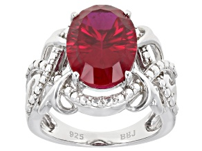 Pre-Owned Red lab created ruby rhodium over sterling silver solitaire ring 6.38ct