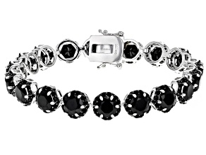 Pre-Owned Black spinel rhodium over silver bracelet 26.77ctw