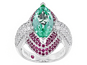 Pre-Owned Green Sythetic Spinel/Red Sapphire/White Cubic Zirconia Platineve Ring 6.64ctw
