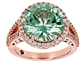 Pre-Owned Synthetic Green Spinel & White Cubic Zirconia 18k Rose Gold Over Silver Ring 8.65ctw