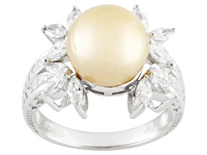 Pre-Owned Golden Cultured South Sea Pearl, Diamond Simulant Silver Ring
