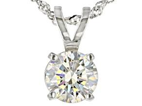 Pre-Owned White Fabulite Strontium Titanate Rhodium Over Silver Pendant With Chain 3.00ct