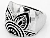 Pre-Owned Rhodium Over Sterling Silver Floral Ring