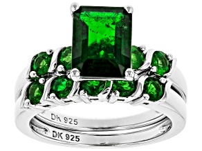 Pre-Owned Green Chrome Diopside Rhodium Over Silver Ring With Band 2.86ctw