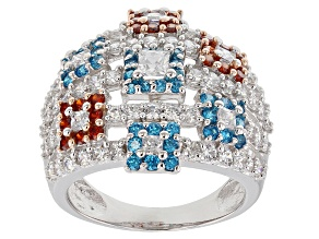 Pre-Owned Blue, Red, And White Cubic Zirconia 18K Rose Gold And Rhodium Over Sterling Silver Ring 3.