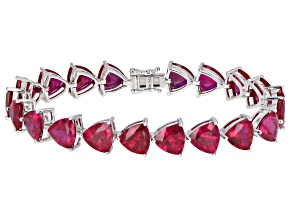 Pre-Owned Red Lab Created Ruby Rhodium Over Silver Bracelet 36.60ctw