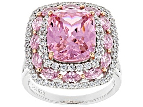 Pre-Owned Pink and White Cubic Zirconia Rhodium Over Sterling Silver Ring 11.91ctw