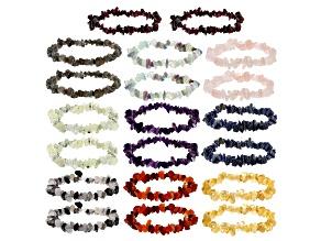 Pre-Owned Multicolor Assorted Gemstone Nugget Stretch 20 Bracelet Set