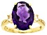 Pre-Owned Amethyst 18K Yellow Gold Over Sterling Silver Ring 6.50ctw