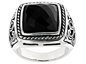 Pre-Owned Black Onyx Sterling Silver Mens Ring.