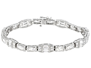 Pre-Owned White Cubic Zirconia Rhodium Over Sterling Silver Tennis Bracelet 10.00ctw