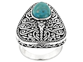 Pre-Owned Turquoise Rhodium Over Silver Dragonfly Solitaire Ring