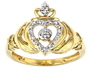 Pre-Owned White Diamond 14K Yellow Gold Over Sterling Silver Claddagh Ring 0.10ctw