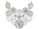 Pre-Owned Silver Tone Floral Lace Design Bib Necklace