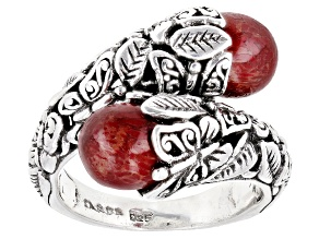 Pre-Owned Red Coral Sterling Silver Bypass Butterfly Ring