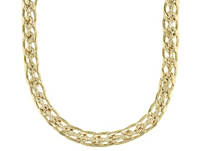 Pre-Owned Polished & Hammered  Designer Curb Link 18K Yellow Gold Over Sterling Silver Necklace 18 I