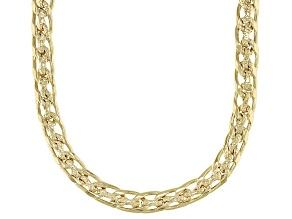 Pre-Owned Polished & Hammered  Designer Curb Link 18K Yellow Gold Over Sterling Silver Necklace 18 I