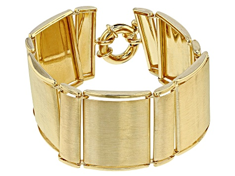 Pre-Owned 18k Yellow Gold Over Bronze Square Bracelet 7.5 inch