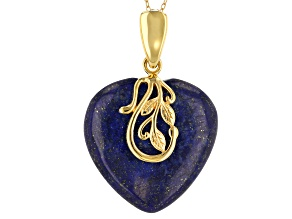 Pre-Owned Blue lapis lazuli 18k gold over silver enhancer with chain
