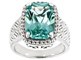 Pre-Owned Green Lab Created Spinel Rhodium Over Silver Ring 6.58ctw