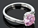 Pre-Owned Pink And White Cubic Zirconia Sterling Silver Ring With Guard 4.33ctw