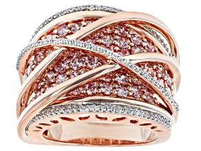 Pre-Owned Fancy Pink And White Zirconia From Swarovski ® 18k Rose Gold Over Sterling Silver Ring 4.6