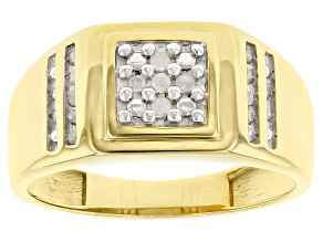 Pre-Owned White Diamond 14K Yellow Gold Over Sterling Silver Mens Ring 0.15ctw