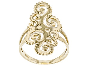 Pre-Owned 10k Yellow Gold Paisley Designer Ring