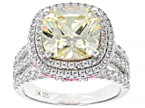 Pre-Owned White, Yellow, and Pink Cubic Zirconia Rhodium Over Sterling Silver Ring 12.85ctw
