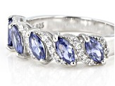 Pre-Owned Blue And White Cubic Zirconia Rhodium Over Sterling Silver Ring 2.56ctw