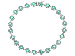 Pre-Owned Green Ethiopian Emerald Rhodium Over 10K White Gold Bracelet  4.48ctw