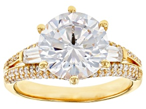 Pre-Owned White Cubic Zirconia 18k Yellow Gold Over Sterling Silver Ring 8.35ctw