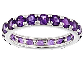 Pre-Owned Amethyst Rhodium Over Sterling Silver Eternity Band Ring 2.64ctw