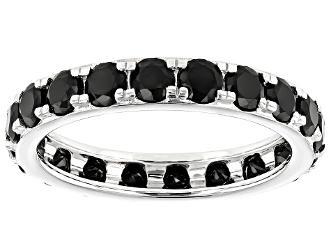 Pre-Owned Black Spinel Rhodium Over Sterling Silver Eternity Band Ring 2.64ctw