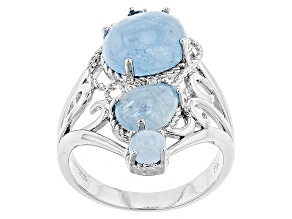 Pre-Owned Blue Aquamarine Silver Ring .03ct