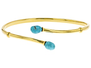 Pre-Owned Sleeping Beauty Turquoise 18K Yellow Gold Over Silver Bracelet