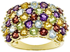 Pre-Owned Multi-Color Gemstone 18k Gold Over Silver Ring 4.25ctw