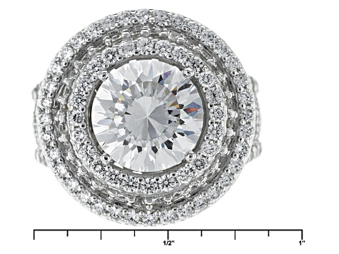 Pre-Owned Cubic Zirconia Silver Ring 9.65ctw (6.09ctw DEW)