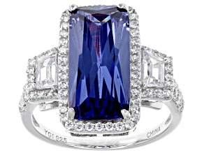 Pre-Owned Blue & White Cubic Zirconia Rhodium Over Sterling Silver Center Design Ring 10.33tw