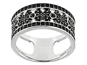 Pre-Owned Black Spinel Rhodium Over Silver Band Ring .63ctw