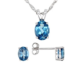 Pre-Owned Blue Topaz Rhodium Over Silver Pendant With Chain And Earrings Set 3.60ctw