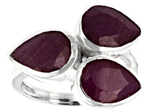 Pre-Owned Red Indian Ruby Sterling Silver Ring 6.34ctw