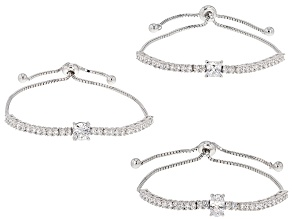 Pre-Owned White Cubic Zirconia Rhodium Over Sterling Silver Adjustable Bracelets 9.42ctw