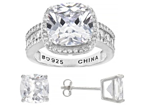 Pre-Owned White Cubic Zirconia Rhodium Over Sterling Silver Ring and Earring Set 15.56ctw
