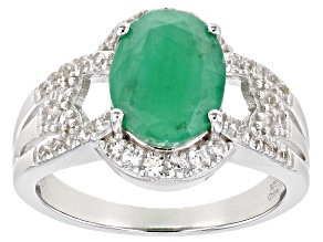 Pre-Owned  Emerald Rhodium Over Sterling Silver Ring 2.35ctw